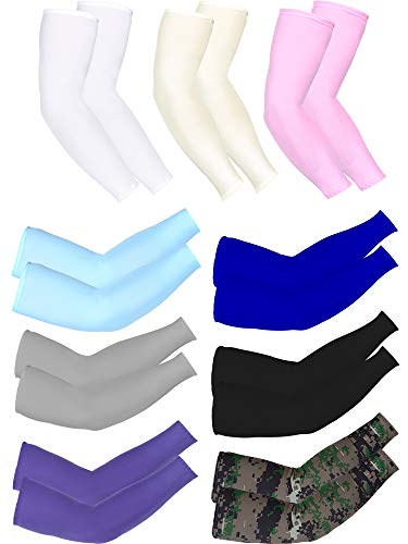Mudder 9 Pairs Unisex UV Protection Sleeves Arm Cooling Sleeves Ice Silk Arm Sleeves Arm Cover Sleeves (White, Black, Gray, Sky Blue, Pink, Purple, Royal Blue, Camouflage, Yellow)