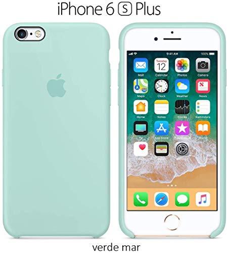 Funda Silicona para iPhone 6 Plus y 6s Plus Silicone Case, Calidad, Textura Suave, Forro Interno Microfibra (Verde mar)