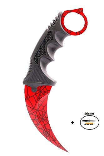 CSGO Karambit - Crimson Web - Real Knife Skin Scharf Counter-Strike Global Offensive Sammlerstück Jagdmesser - Bundle - Ariknives