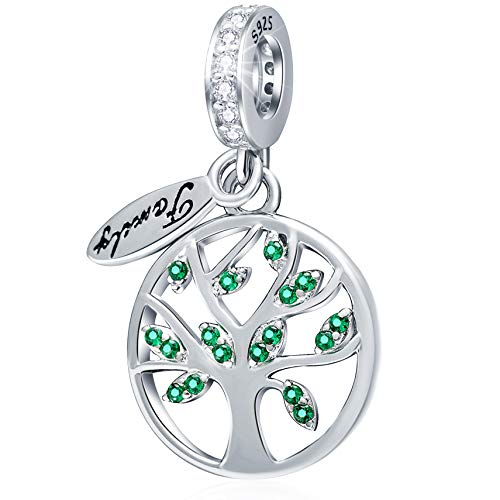 Family Tree of Life Charms fits Pandora Charm Bracelet, 925 Sterling Silver Dangle Family Heritage Bead Pendant with CZ, Gifts for Mother/Father/Daughter/Son
