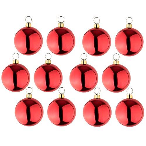 your castle 12 große Weihnachtskugeln Christbaumkugel rot glänzend 25 cm Ø. Hochwertig für Innen und wetterfest für Aussen. Mit Stahlring zur einfachen und wiederverwendbaren Befestigung