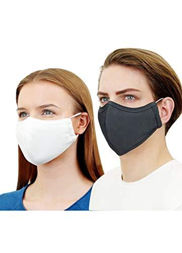 Maske Kupfer Silber Ionen mit Baumwolle, waschbar und wiederverwendbar, 4-lagig, 4er Pack, mit Nasenbügel (L, weiß)