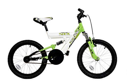 ZDC Zodiac Kids Boys Dual Suspension Mountain Bike, 18' Wheel, Single Speed - White/Green