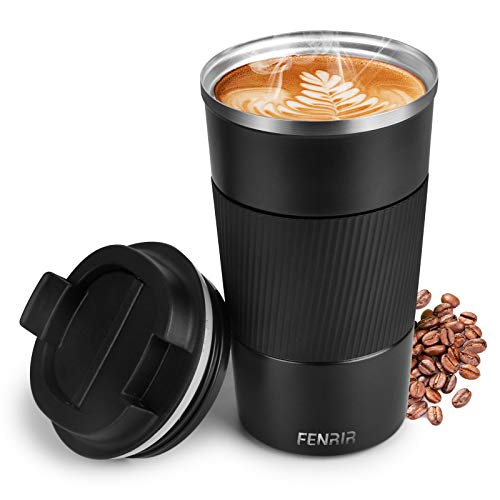 Thermobecher Matt hält 6h heiß,Kaffeebecher BPA-Frei, Edelstahl Doppelwandig Isoliert, Auslaufsicher, Coffee to go, Kaffee & Tee Isolierbecher Travel Mug (510ml)