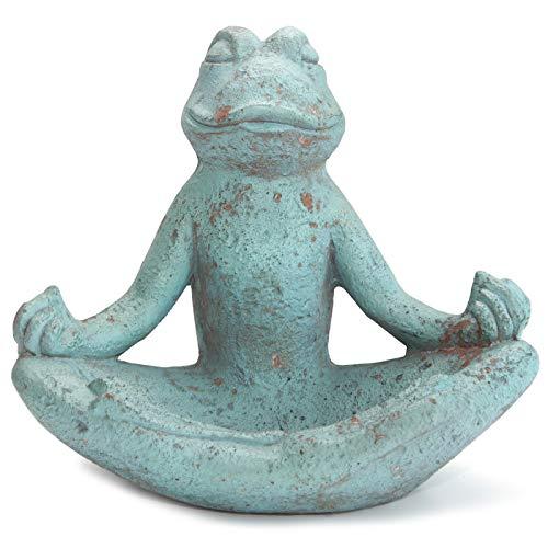 Werner Voss Skulptur Yoga Frosch Garten-Figur Dekofigur für Haus und Garten in Stein-Optik Grau Grün Türkis