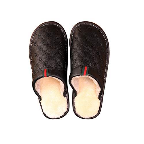 XVXFZEG Piel de algodón Zapatillas de Felpa de la guarnición de los Hombres, Zapatillas cómodas Inicio Interior y Exterior Negro Zapatos Antideslizantes, Caliente de Alta Densidad otoño y la Carne de