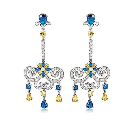 Pendientes de plata de ley 925 para mujer con cristal de circonita cúbica 5A, colgante de diamantes, pendientes colgantes, accesorios, regalos, joyería alta de moda