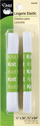 Dritz 9324W Lingerie Knit Elastic, White, 1/2 by 30-Inch & 3/8 by 54-Inch
