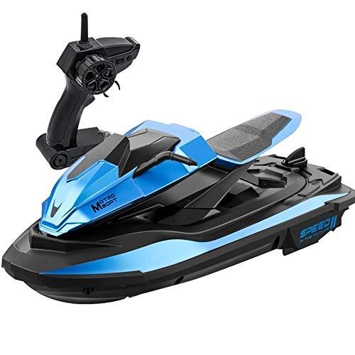 OUUED Hochgeschwindigkeits-Jet-Ski Elektrische Fernbedienung 4CH Speed-Boot Wiederaufladbares 2.4G Radio RC Anti-Kollision Spielzeug Speed-Schiff 1/14 Modell Motorboot Boot für Schwimmbäder Seen im Fr