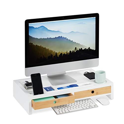 Relaxdays Monitorständer, XL Bildschirmerhöhung aus Bambus & MDF, 2 Schubladen, Organizer, HBT 11 x 58,5 x 32,5 cm, weiß