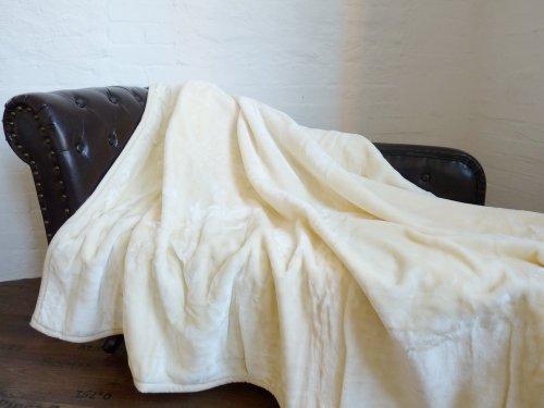 Kuscheldecke Tagesdecke Decke Glanz-Design elfenbein 160x200cm