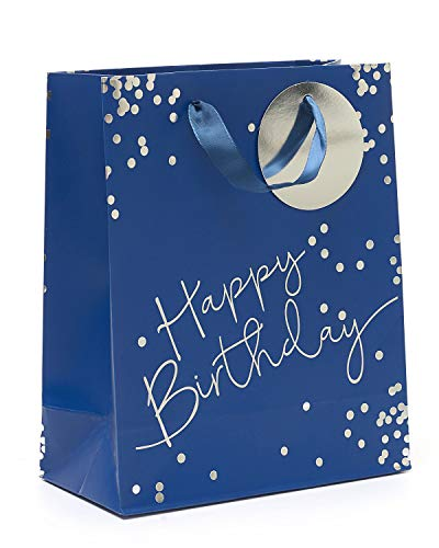 Birthday Gift Bag Medium - Blue Medium Gift Bag for Him with Foil - Perfect Happy Birthday Gift Wrap Bag - Blue Party Bag