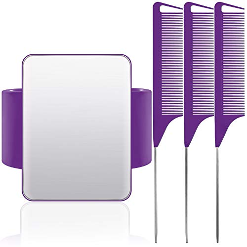 Magnetic Wrist Sewing Pincushion Wrist Magnetic Pin Holder Wristband Pin Cushion Holder with 3 Pieces Stainless Steel Pintail Comb Rat Tail Comb for Hair Clips Sewing, Daily Hand Sewing (Purple)