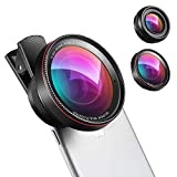 (New) Phone Camera Lens, 0.6X Super Wide Angle Lens, 15X Macro Lens, 2 in 1 Clip-On Cell Phone Lens Attachment Kit for iPhone, Samsung, Other Smartphones
