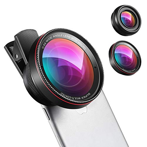 AMIR 2 in 1 Professional HD Camera Lens Kit, 0.6X Super Wide Angle Lens, 15X Macro Lens, Universal Clip-On Cell Phone Lens for iPhone Samsung Most Smartphones