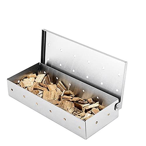 otutun Caja ahumadora de acero inoxidable, caja de ahumador de barbacoa para parrilla de carbón caja de ahumadores de carne accesorios para barbacoa, para Parrilla de Gas Hogar Jardín Exterior-Plata