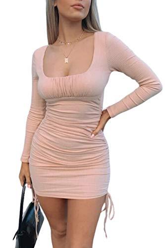 Haloon Mini vestido ajustado de manga larga con cuello cuadrado acanalado...