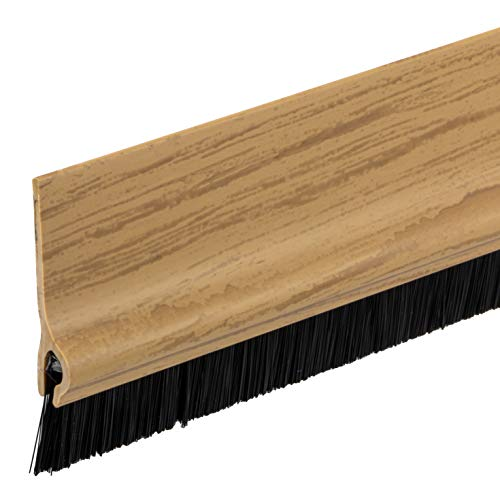 Gedotec Bürstendichtung selbstklebend Streifenbürste Garagen-Tor Türbürsten-Dichtung mit dichten Besatz | Länge 1000 mm | Türdichtung Kunststoff Eiche | 1 Stück - Tür-Dichtschiene Bürste für Böden