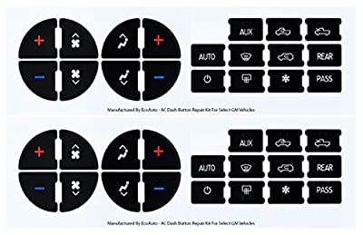 EcoAuto AC Dash Button Repair Kit for Select GM Vehicles - Fix Ruined Faded A/C Controls