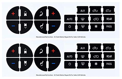 AC Dash Button Replacement Decal Stickers (Pack of 2) for Select GM Vehicles - AC Control & Radio Button Sticker Repair Kit - Fix Ruined Faded A/C Controls