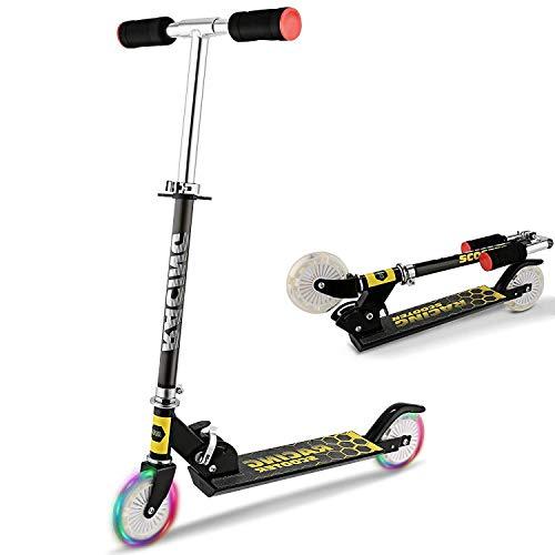 Patinete plegable para niños y adolescentes, scooter de 2 ruedas con ruedas de 145 mm, rodamientos ABEC-7, manillar ajustable de 3 niveles, scooter urbano para edades de 8 años y más (negro)
