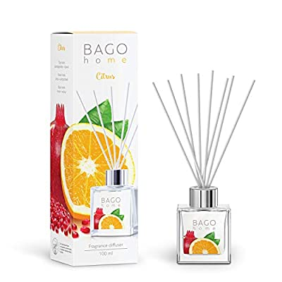 BAGO home Fragrance Oil Reed Diffuser Set - Citrus | Citrus, Pomegranate & Musk Notes | 100 ml 3.4 oz