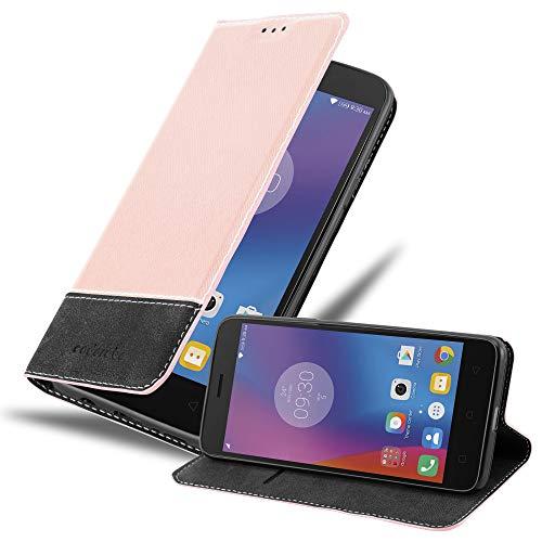 Cadorabo Hülle für Lenovo K6 in ROSÉ Gold SCHWARZ - Handyhülle mit Magnetverschluss, Standfunktion & Kartenfach - Hülle Cover Schutzhülle Etui Tasche Book Klapp Style