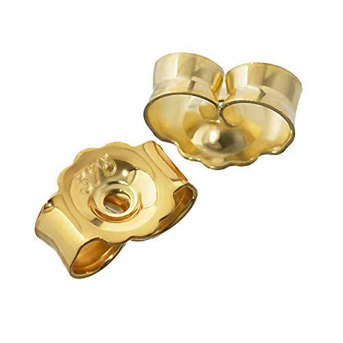 NKlaus 1 Paire 375 Or Jaune Contre Clou d'oreille Bouchon d'oreille Trou 0,8mm écrou d'oreille 2612