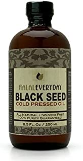 Pure and Cold Pressed Black Seed Oil - 8 oz Glass Bottle - NON-GMO and Vegan - Nigella Sativa -Hexane Free - Halal Certified - Unfiltered,Dark and Potent - Natural Source of Nigellone and Thymoquinone