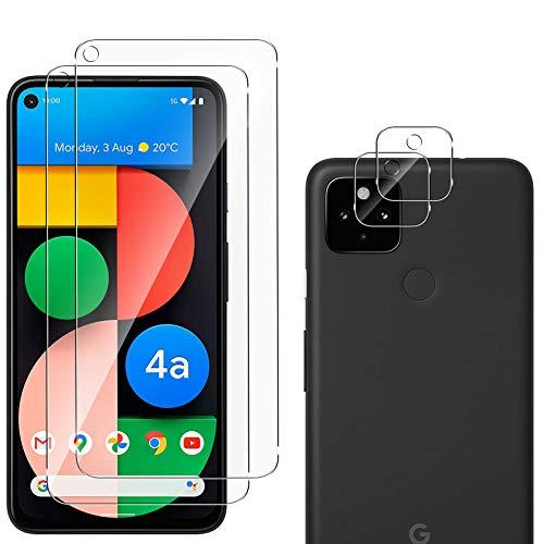 QULLOO Panzerglas Schutzfolie kompatibel mit Google Pixel 4a 5G [2 Stück] + Kamera Panzerglas [2 Stück], 9H Härte Anti-Kratzen Panzerglasfolie für Google Pixel 4a 5G