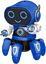 Michance Children Dancing Robot 7-Color Light Music Six-Claw Fish Electronic Toy Gift Remote- & App-Controlled Figures & Robots (Black)