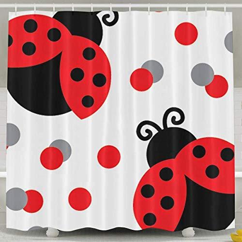 Abaysto Cute Red Ladybug Shower Curtain,Bath Curtains Bathroom Decor Sets with Hooks Shower Bath Curtain for Bathroom,Polyester Fabric Bathroom Shower Curtain