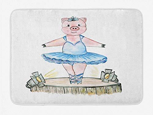 AoLismini Ballerina-Badematte, Schwein-Illustration mit Ballett-Outfit auf der Bühne - Bleistift-Zeichnungs-Skizze - Klaue, Badezimmer-Dekor-Matte mit Rutschfester Klammer, Mehrfarbig