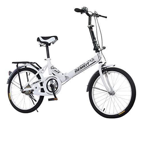 20in Folding Mountain Bike, Full Suspension MTB Bikes Outroad Mountain Bicycle 21 Speed Gears Dual Disc Brakes Mountain Bicycle for Men Women (White)