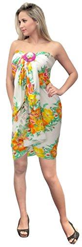 LA LEELA Traje de baño de mujer talla grande cubierta de verano playa falda completa larga B -  Amarillo -  183 X 107 cm