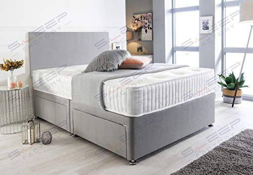 Sleep Factory's Grey Suede Memory Foam Divan Bed Set With Mattress And Headboard 3ft 4ft 4ft6 5ft 6ft Single Double Small UK King Super King (3.0FT (Single), No Drawers)