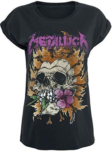 Metallica Flower Skull Mujer Camiseta Negro S, 100% algodón, Regular