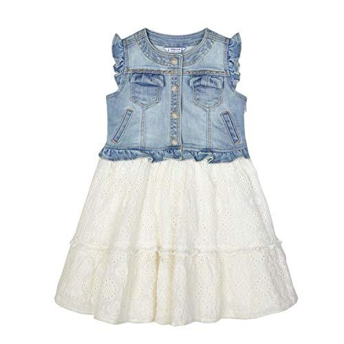 Mayoral - Mädchen Sommerkleid Kurzarm Kleid-Kombi Jeans, Jeansblau/weiß - 3945, Gr. 104 - Größe 104