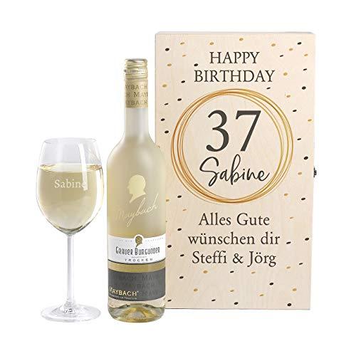 Herz & Heim® Maybach Wein-Geschenkset mit graviertem Weinglas und Weißwein zur Auswahl ein edles Geburtstagsgeschenk Grauer Burgunder