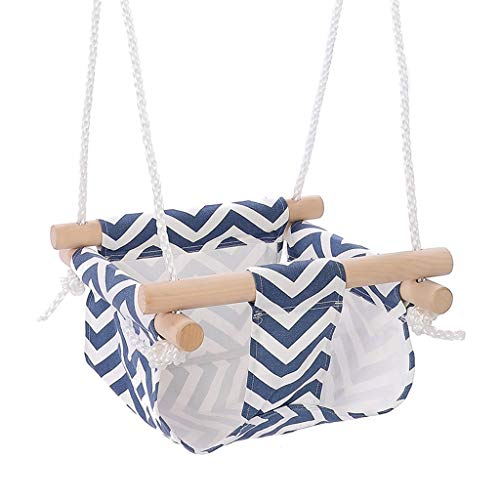 Columpios infantiles Seguridad del bebé de la lona de oscilación del asiento plegable seguro silla colgante de madera cubierta hamaca al aire libre Silla Pequeño balanceo cesta de oscilación for el ni
