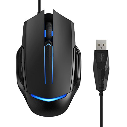 Wired Gaming Mouse, Pictek Computer Mouse Gamer Mice with 3200 DPI--4 Adjustable Levels, 6 Buttons, 7 Colors LED Breathing Lights...