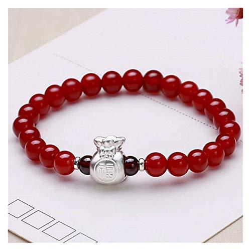 FLYAND Feng shui riqueza pulsera natural rojo ágata pulsera carambola con 999 pura billetera de plata curativo cuentas de cristal amuleto prosperidad atrae buena suerte amor brazalete regalo para muje