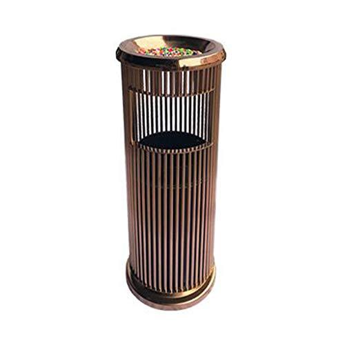 BORE Mülleimer Edelstahl-Mülleimer mit innerem Fass-stehendem Aschenbecher-Eimer-Abfalleimer-Hotel-Badezimmer-Büro-Papierkorb im Freien Abfalleimer (Color : Rose Gold)
