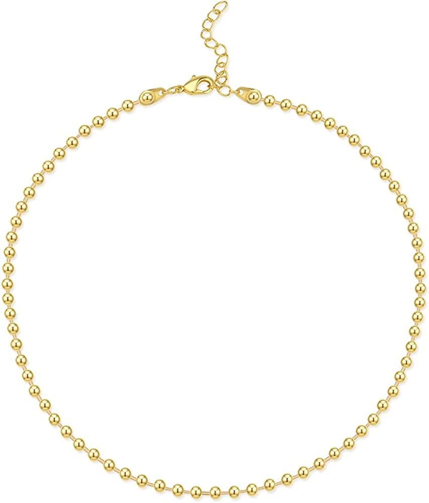 Hapuxt 4mm Gold Beaded Necklaces for Women, 18K Gold Beaded Ball Chain Choker Necklace for Teen Girls | Dainty Gold Necklaces for Women