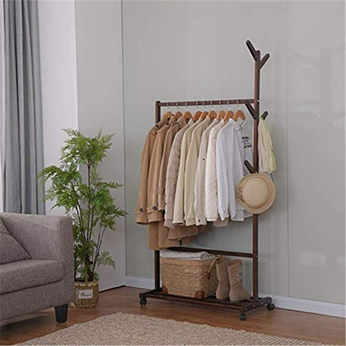 N/Z Home Furnishings Coat Shoes Hats Stand Rack Clothes Rack Clothes Shelf Solid Wood Coat Rack Hanger Simple Hanger Floor Home Simple Modern Bedroom Shelf (Color : Brown Size : 83.5cm)