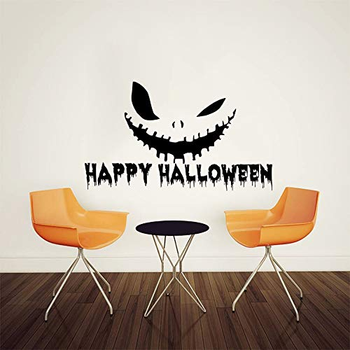 Geiqianjiumai Halloween Horror Ghost Wandaufkleber Wohnzimmer Schlafzimmer Wandtattoo Schwarz Kleber Wandaufkleber Dekoration 61,5X108 cm