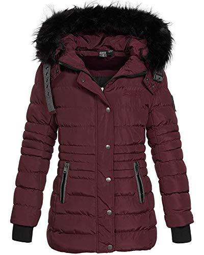 Geographical Norway Daleo - Parka de invierno con capucha de piel para mujer granate S