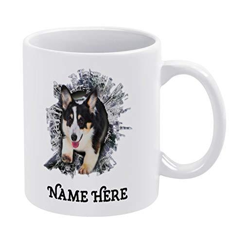 3D-Effekt Kaffeetasse, dreifarbige Corgi Fenster-Tasse, Corgi Fenster, lustige Corgi Tasse, Tierliebhaber, lustige Keramik Kaffee Tee Tasse, Geschenk für Freunde, Familie, Liebhaber, Kollegen, 330 ml