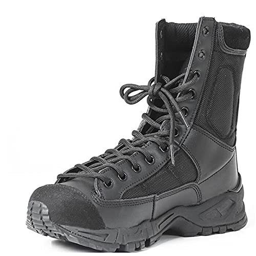 Hombres de cuero táctico ejército botas hombres correa de tobillo negro más tamaño zapatos de trabajo combate botas militares, Black,