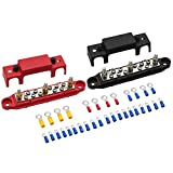 "Mofeez Bus Bar -3x1/4""Post,10x#8 Screw Terminal Power Distribution Block with Ring Terminals(Pair - Red & Black)"